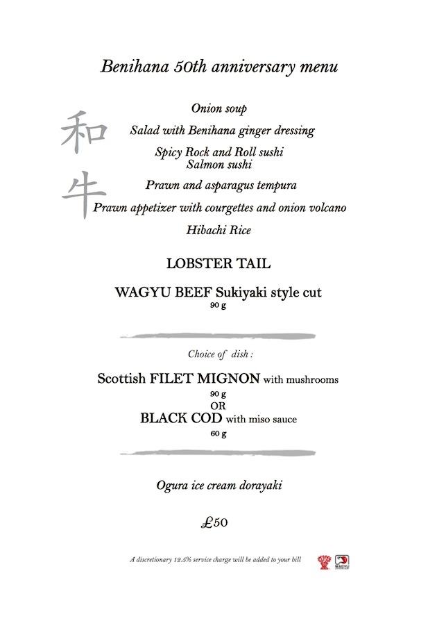 Wagyu Beef Menu